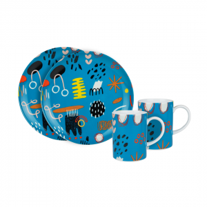 Calla The Label Series – Gift Set 1 (Plate & Mug) Kate Blue Teal
